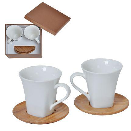 """Набор """"Натали"""": две чайные пары в подарочной упаковке, 200 мл, фарфор, бамбук"""