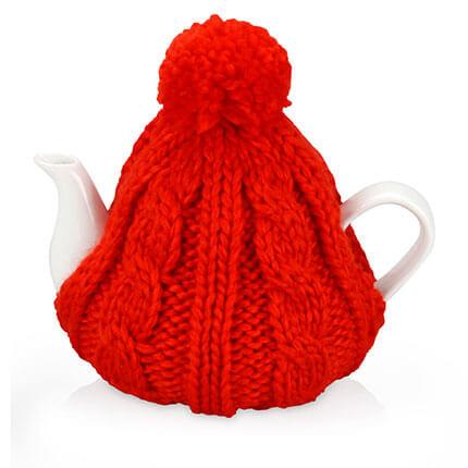 """Чайник фарфоровый """"Шапочка"""", объём 750 мл, цвет шапки красный"""