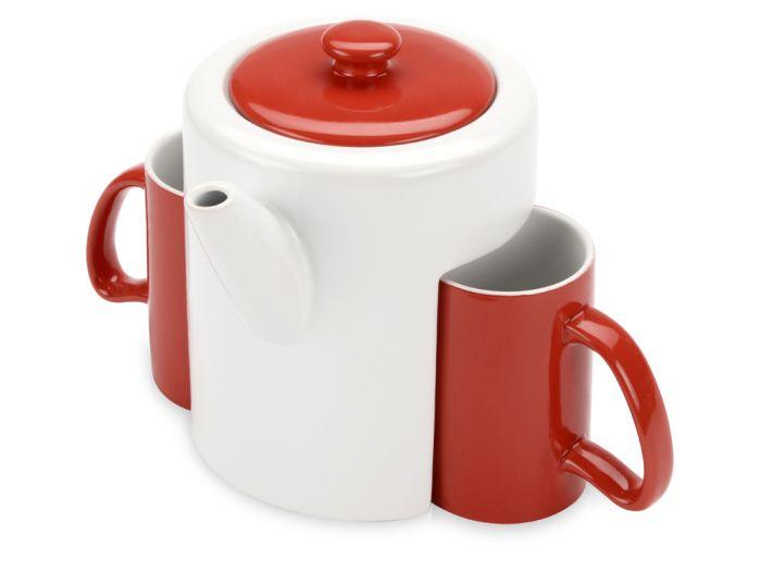 """Чайный керамический набор """"Триптих"""", цвет белый с красным"""