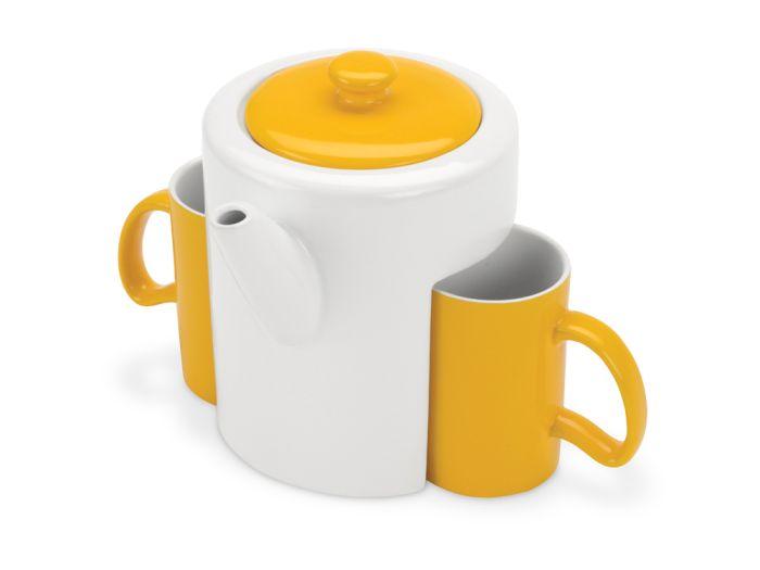 """Чайный керамический набор """"Триптих"""", цвет белый с жёлтым"""