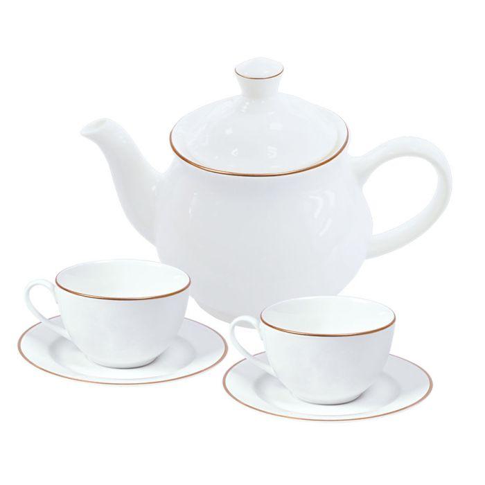 """Набор """"Goldi"""": две чайных пары и чайник в подарочной упаковке"""