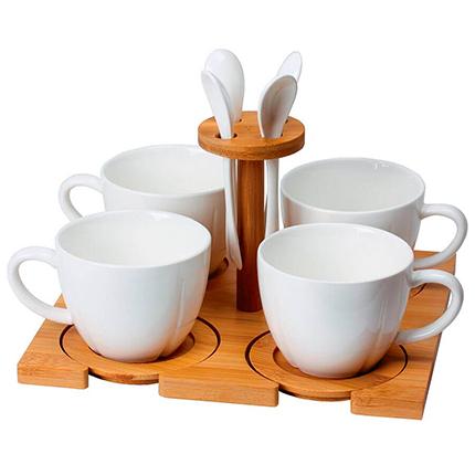 """Набор """"Ксю"""" на 4 персоны: чайные пары с ложечками на бамбуковой подставке, в подарочной упаковке"""