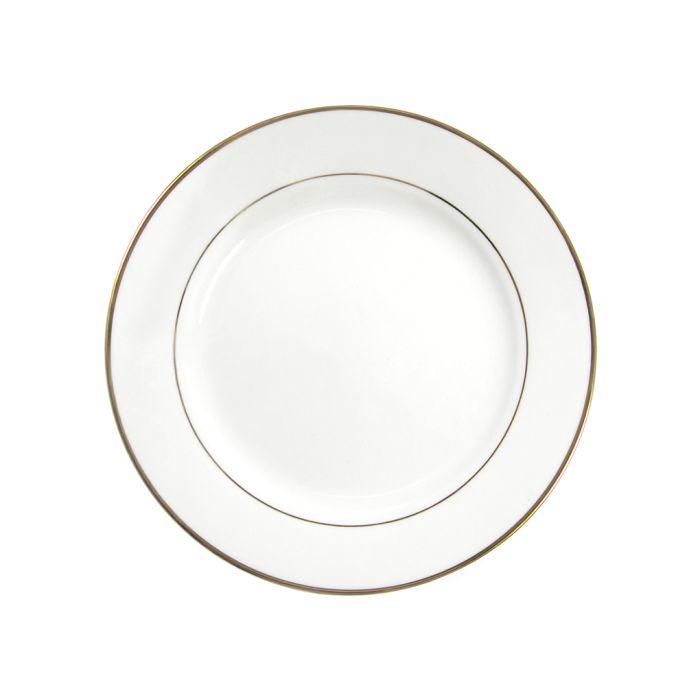 Тарелка для сублимации керамическая, белая с золотым ободком