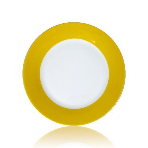 Тарелка для сублимации керамическая, белая с желтым орнаментом