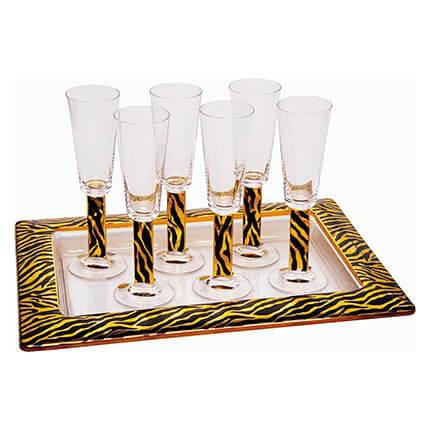 """На6ор """"Зебра"""" из 6 бокалов для шампанского с подносом"""