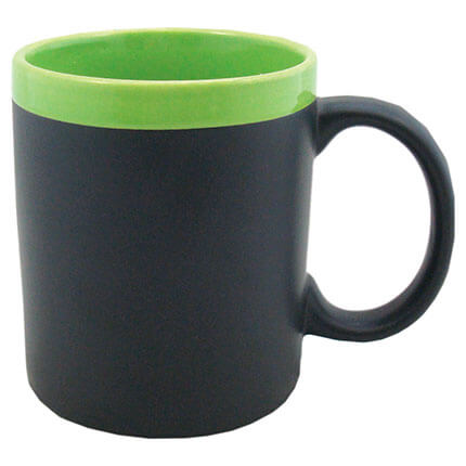 """Кружка керамическая с покрытием для рисования мелом """"Да Винчи"""", 320 мл, корпус чёрный, ободок зелёный"""