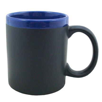 """Кружка керамическая с покрытием для рисования мелом """"Да Винчи"""", 320 мл, корпус чёрный, ободок синий"""