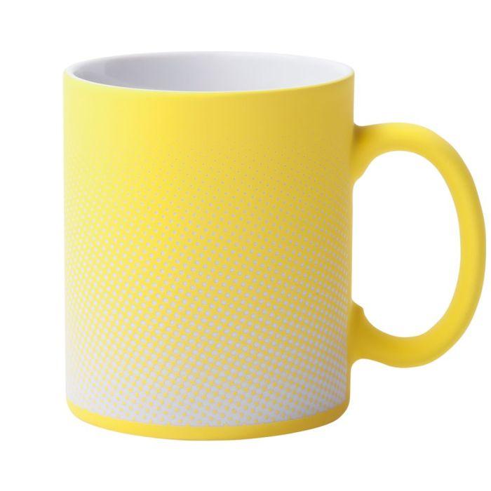 Кружка Dot с покрытием SOFT TOUCH и гравировкой, желтая