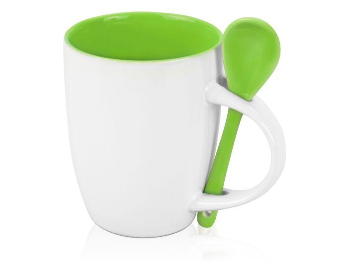 """Кружка керамическая с ложкой """"Авеленго"""", 320 мл, снаружи белая, внутри зелёное яблоко"""