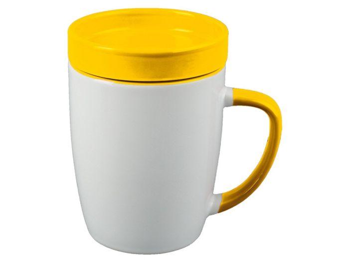 """Кружка с крышкой """"Мак-Кинни"""", 320 мл, цвет белый/жёлтый"""