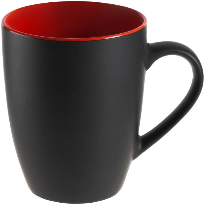 Кружка Bright Tulip, матовая, 340 мл, чёрная с красным