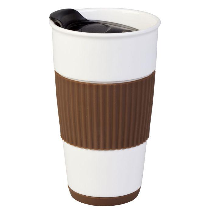 Кружка To Go, 500 мл, цвет белый с коричневым