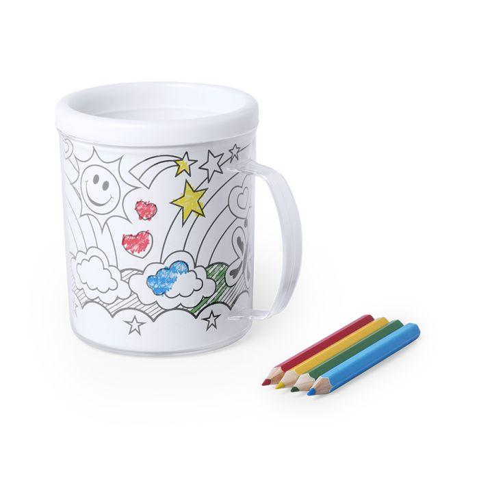 Кружка для раскрашивания с 4-мя цветными карандашами FESIENT