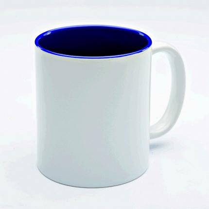 Кружка керамическая для сублимации, объём 300 мл, снаружи белая, внутри темно-синяя