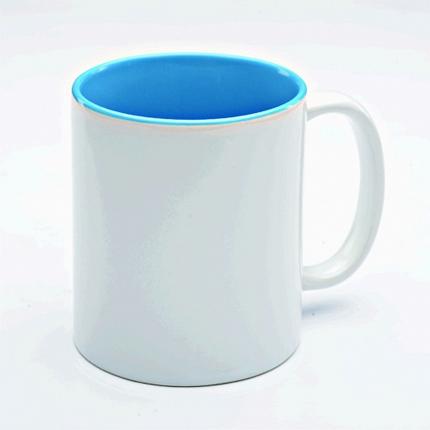 Кружка керамическая для сублимации, объём 300 мл, снаружи белая, внутри светло-синяя