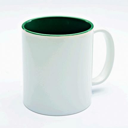 Кружка керамическая для сублимации, объём 300 мл, снаружи белая, внутри темно-зеленая
