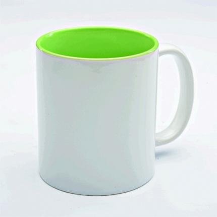 Кружка керамическая для сублимации, объём 300 мл, снаружи белая, внутри светло-зеленая