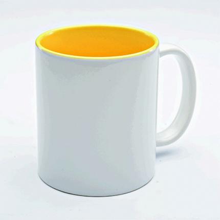 Кружка керамическая для сублимации, объём 300 мл, снаружи белая, внутри светло-желтая