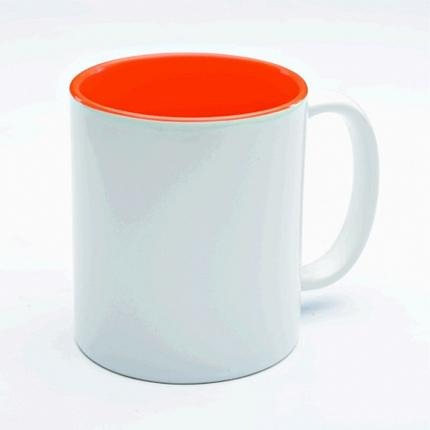 Кружка керамическая для сублимации, объём 300 мл, снаружи белая, внутри оранжевая