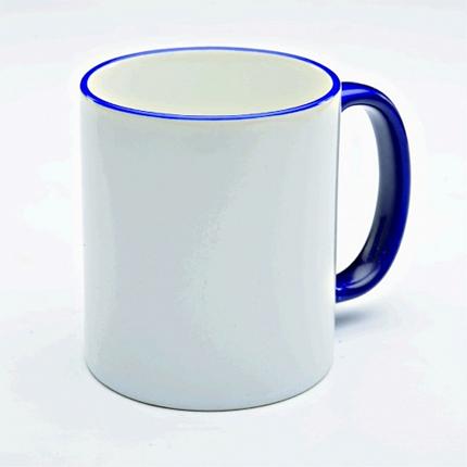 Кружка керамическая для сублимации, объём 300 мл, снаружи белая, ручка и верхняя каемка темно-синяя