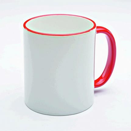 Кружка керамическая для сублимации, объём 300 мл, снаружи белая, ручка и верхняя каемка красная