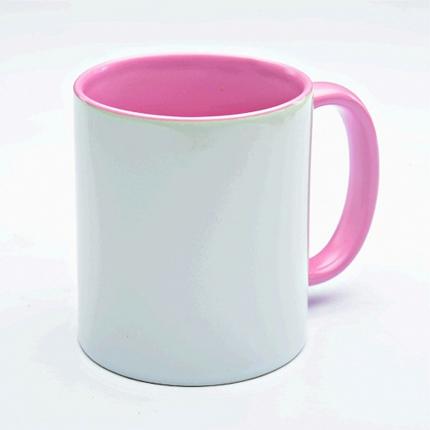 Кружка керамическая для сублимации, объём 300 мл, снаружи белая, внутри и ручка розового цвета