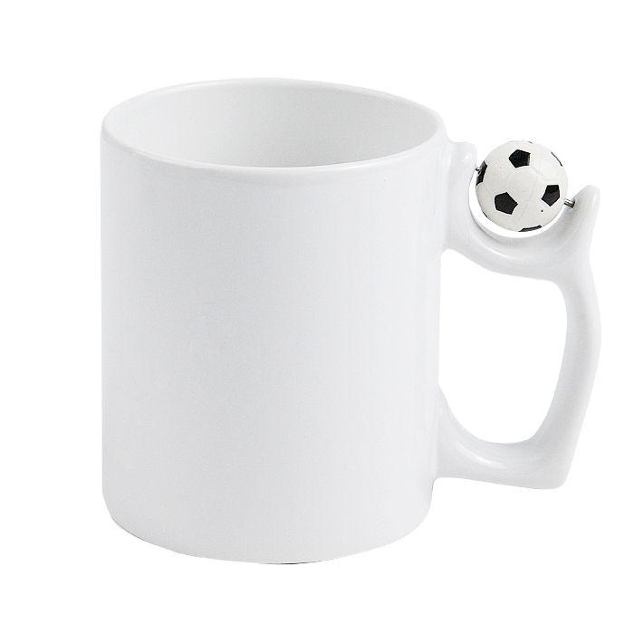 Кружка для сублимации керамическая с футбольным мячом на ручке, 330 мл, белая