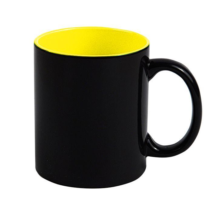 "Кружка для сублимации ""хамелеон"", 330 мл, стандарт, снаружи черная, внутри жёлтая"