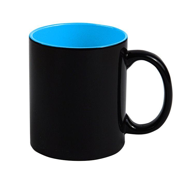"Кружка для сублимации ""Хамелеон"", 330 мл, стандарт, снаружи черная, внутри голубая"