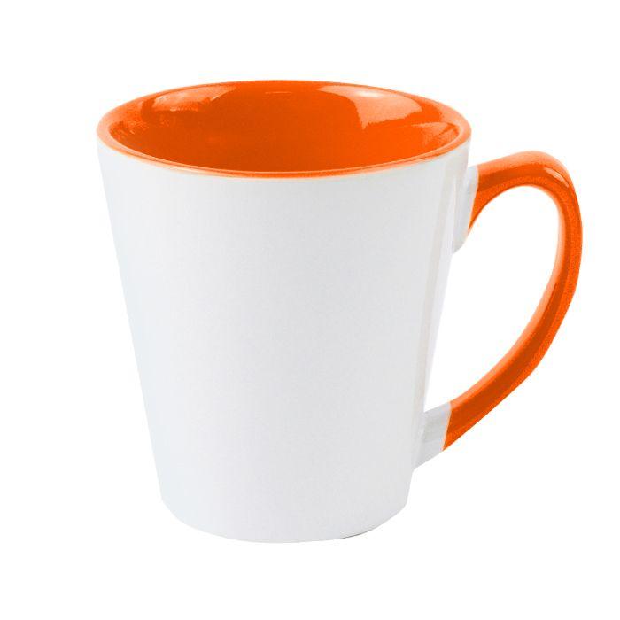 Кружка для сублимации конусная, 330 мл, премиум, снаружи белая, внутри и ручка оранжевая