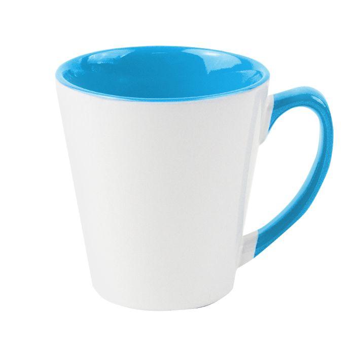 Кружка для сублимации конусная, 330 мл, премиум, снаружи белая, внутри и ручка голубая