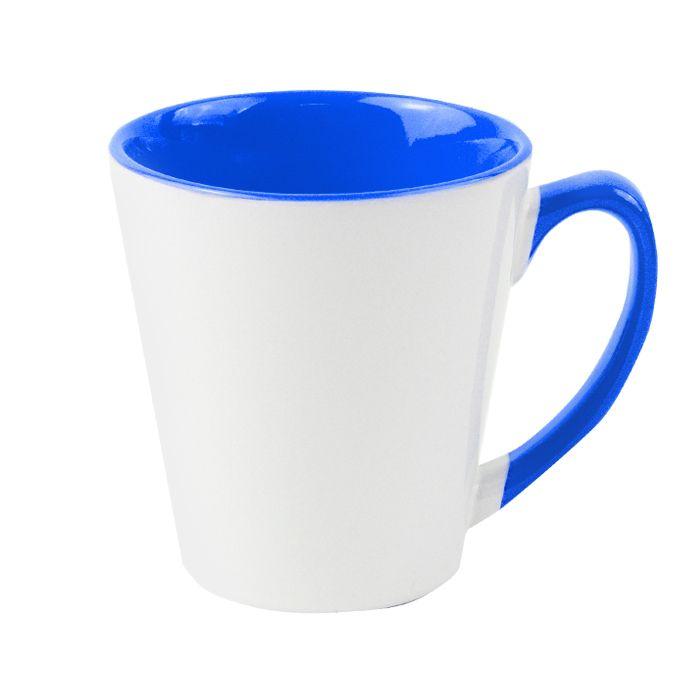 Кружка для сублимации конусная, 330 мл, премиум, снаружи белая, внутри и ручка синяя