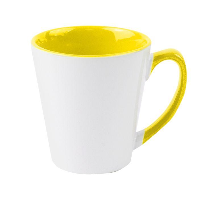 Кружка для сублимации конусная, 330 мл, премиум, снаружи белая, внутри и ручка жёлтая