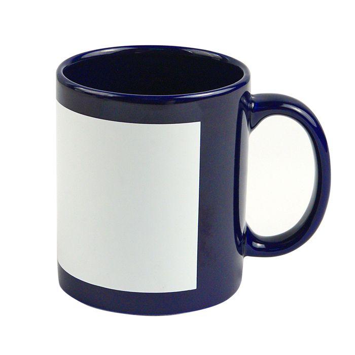 Кружка для сублимации керамическая с белым полем для печати  (8,2х17см), 330 мл, стандарт, синяя