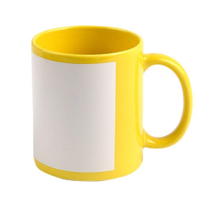 Кружка для сублимации керамическая с белым полем для печати  (8,2х17см), 330 мл, стандарт, жёлтая