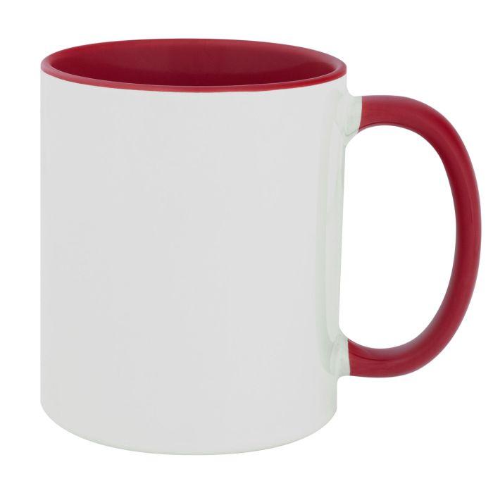 Кружка керамическая для сублимации, объём 330 мл, премиум, снаружи белая, внутри и ручка красного цвета