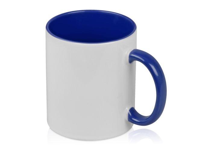 """Кружка """"Sublime Color"""" для сублимации, 320 мл, снаружи белая, внутри и ручка синего цвета"""