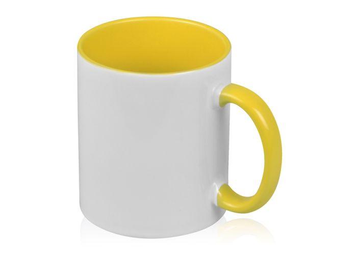 """Кружка """"Sublime Color"""" для сублимации, 320 мл, снаружи белая, внутри и ручка жёлтого цвета"""