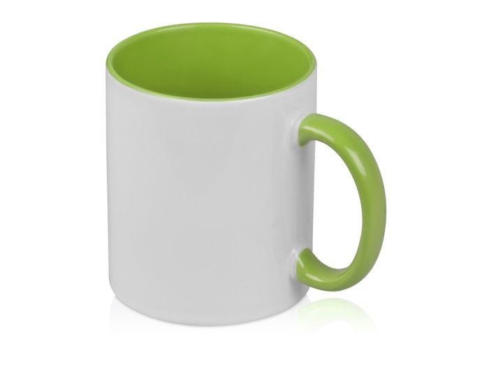 """Кружка """"Sublime Color"""" для сублимации, 320 мл, снаружи белая, внутри и ручка цвета зелёное яблоко"""