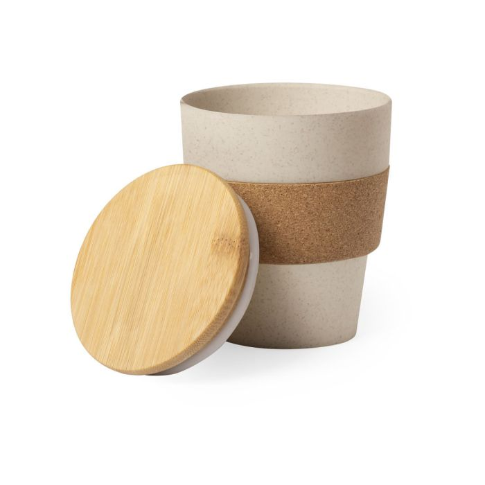 Стакан HOPLAR с крышкой, 350 мл, пластик с бамбуковым волокном, бамбук, натуральная пробка