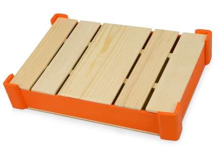 Подарочная коробка из дерева для ежедневника, цвет оранжевый