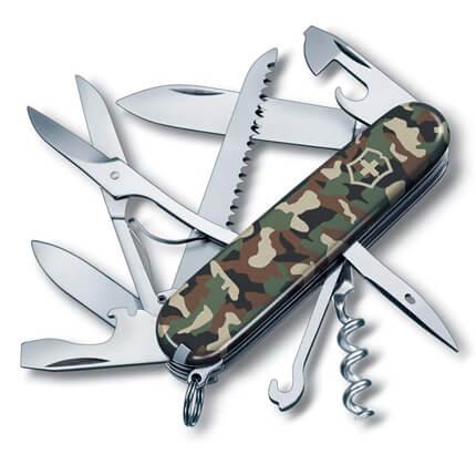 Нож перочинный VICTORINOX Huntsman, 91 мм, 15 функций, зелёный камуфляж