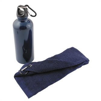 """Набор """"Фитнес"""": фляжка на 500 мл и полотенце 50х31 см, цвет синий"""