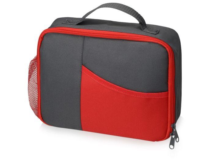 """Изотермическая сумка-холодильник """"Breeze"""" для ланч бокса, цвет серый с красным"""
