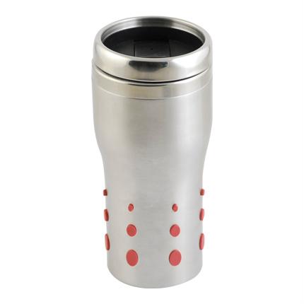 Термостакан (кружка), металл, 0,4 л, с силиконовыми вставками, цвет красный