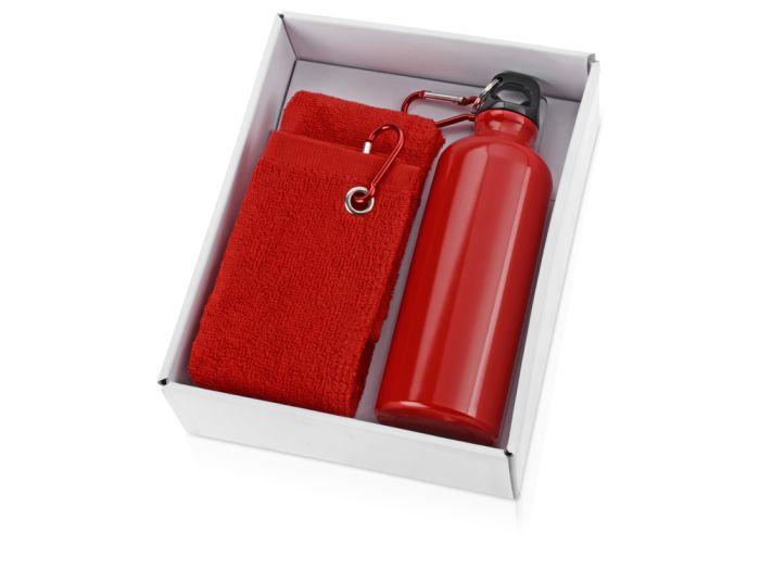 """Набор """"Фитнес"""": фляжка на 500 мл и полотенце 50х31 см, цвет красный"""