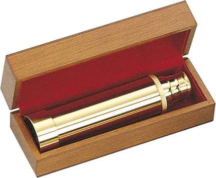 Подзорная труба в деревянной коробке, Sea Power, цвет золотой, (MD038A/B)