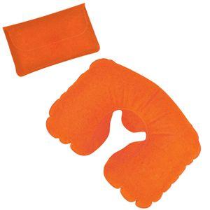 Подушка надувная дорожная в футляре, цвет оранжевый