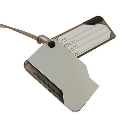 Багажная бирка с шариковой ручкой на мягком шнурке из ПВХ, цвет серебряный