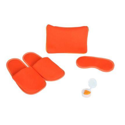 """Набор дорожный """"Релакс"""": маска, беруши, тапки в чехле на молнии, цвет оранжевый"""